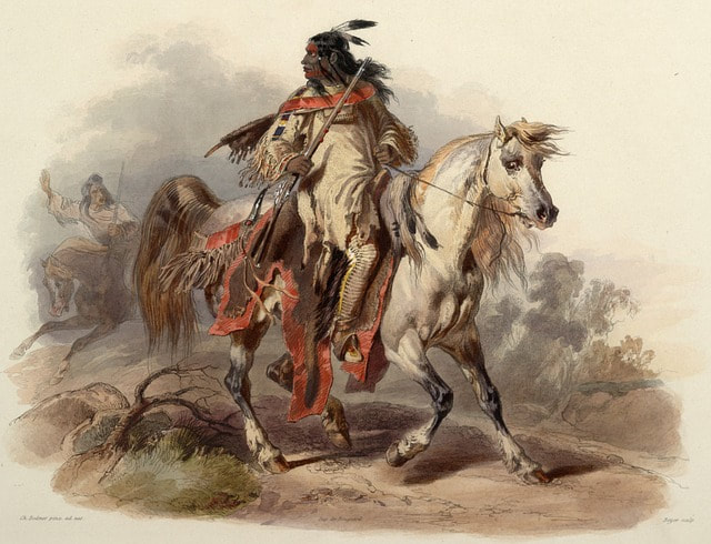 mounted Indian with scalp locks