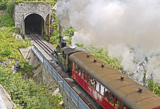 A train entering a tunnel